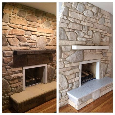 white washed fireplace using sloan chalk paint