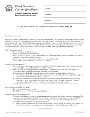 Parents Consent Letter For Blood Donation Blood Donation Permission Form Fill Printable Fillable Blank Pdffiller