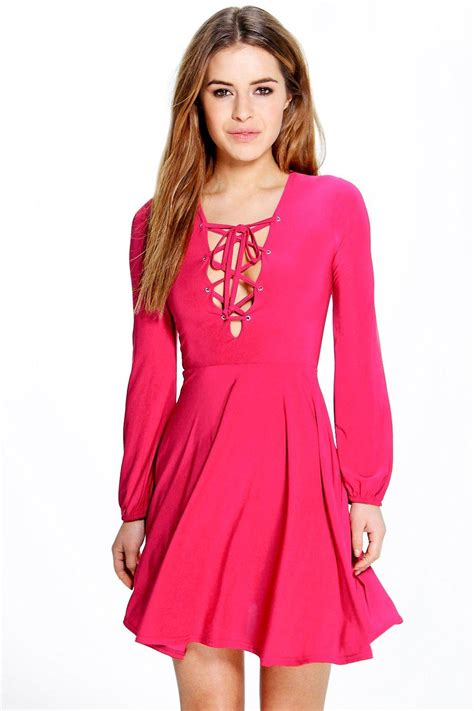 shop boohoo lace up detail skater dress in
