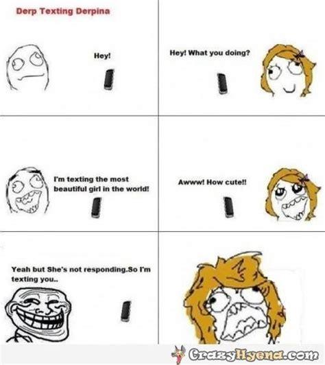 Meme Face Text - funny meme comics of derp texting derpina