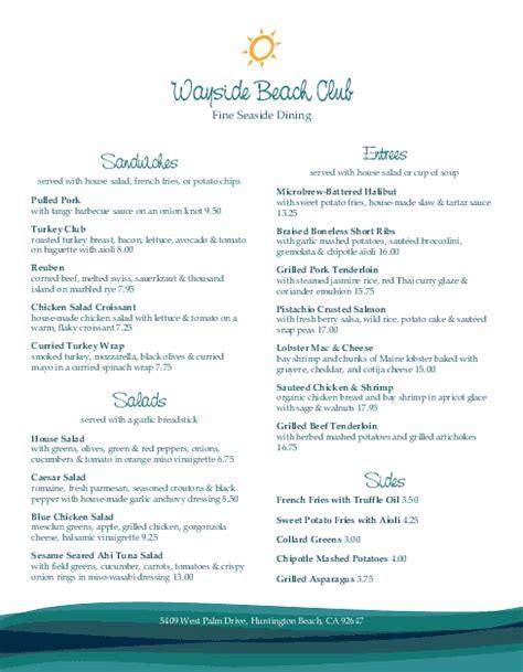 snack bar menu template club menu country club menu