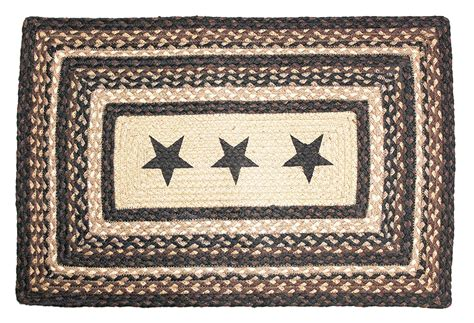 Primitive Rug Black Star Rug Rustic Braided Country Rug Country Rugs