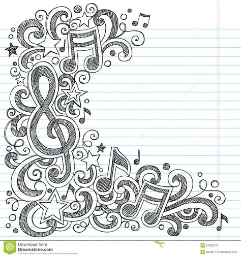 doodle how to use notes and g clef sketchy class doodles stock