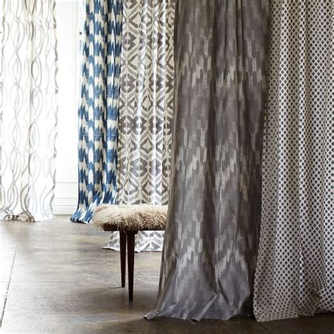 ikat print curtains cotton canvas printed curtain ikat chevron west elm