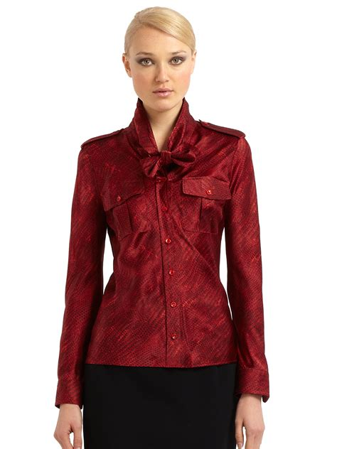 red blouses for women max mara silk snake print tieneck blouse in red lyst