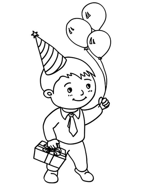 birthday coloring page for boy boy with a birthday gift kawaii 01 9wj skb best place to