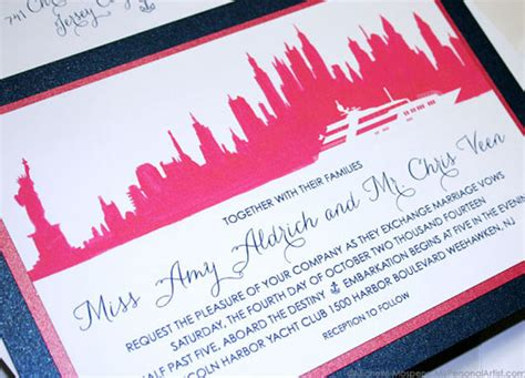 custom wedding invitations nyc nyc watercolor skyline wedding invitations