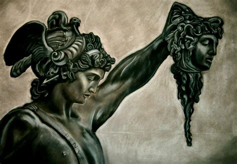 perseus and medusa pastel by adrian rodriguez