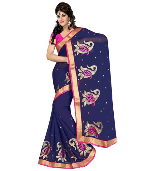 Indian Blouse Navy navy blue chiffon saree with blouse 58514