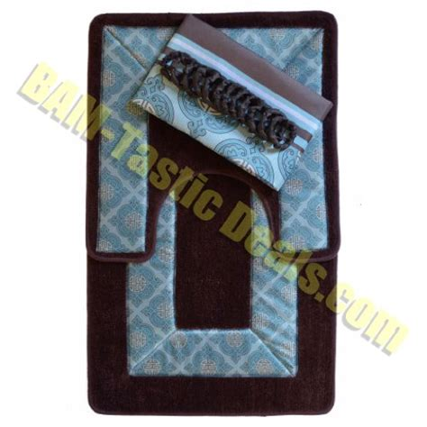 Blue And Brown Bathroom Rugs Galleon Brown And Blue 15 Bathroom Set 2 Rugs Mats 1 Fabric Shower Curtain 12 Fabric