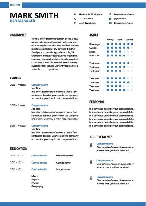 bar manager cv sle description assess pub performance resume