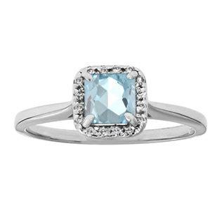 aquamarine gemstone halo ring in white gold