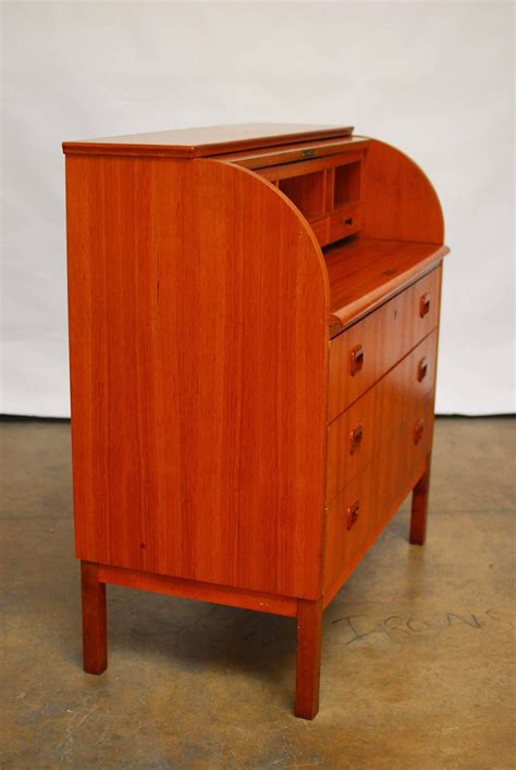 Mid Century Modern Danish Cylinder Roll Top Desk For Sale Mid Century Modern Desks For Sale