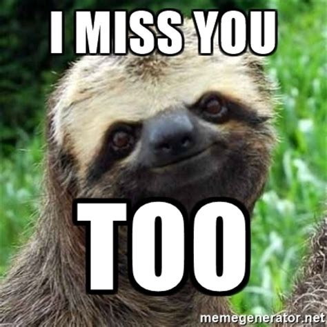 i miss you too images i miss you too sarcastic sloth meme generator