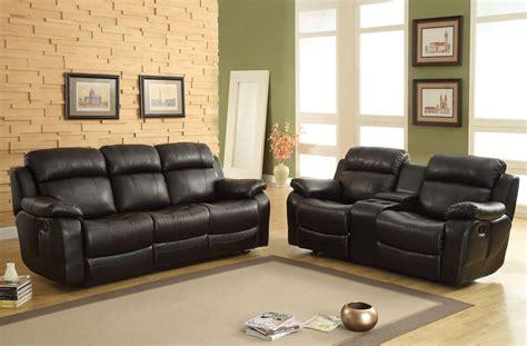 homelegance marille reclining sofa set black bonded