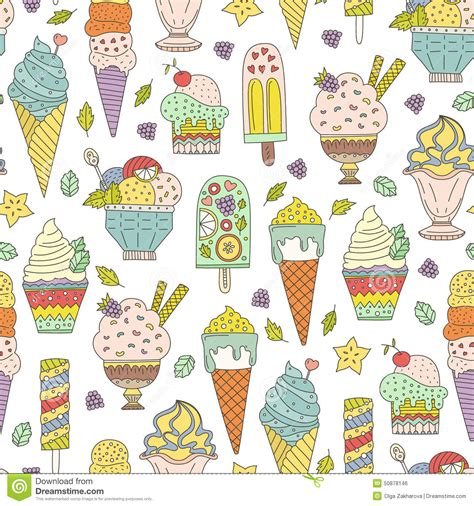 doodle ice cream pattern ice cream pattern stock vector image 50878146