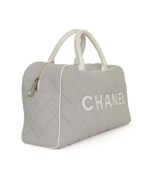 chanel grey quilted canvas bowler bag shw for sale at 1stdibs