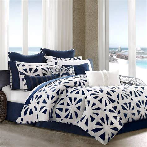 Bedroom Ideas Black And White And Blue Black White And Blue Geometric Bedding With Solid Navy