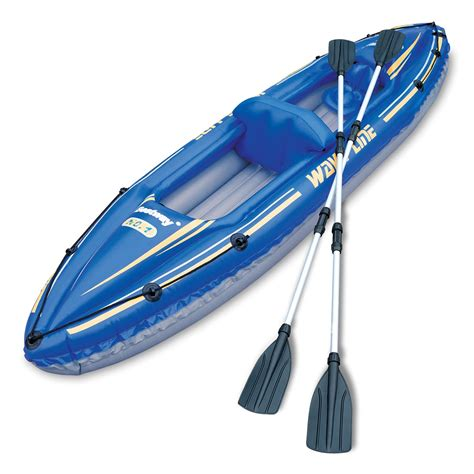 waveline inflatable boats reviews 142 quot wave line inflatable kayak set 2 person canoe ebay