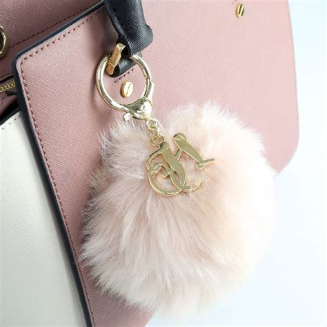 Pompom Charm personalised fluffy pom pom bag charm or keyring by notonthehighstreet