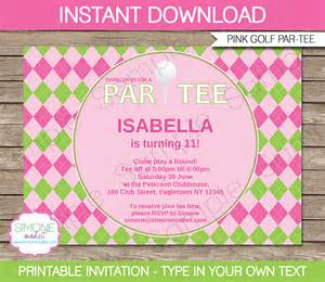 golf birthday party invitations template girls ladies pink