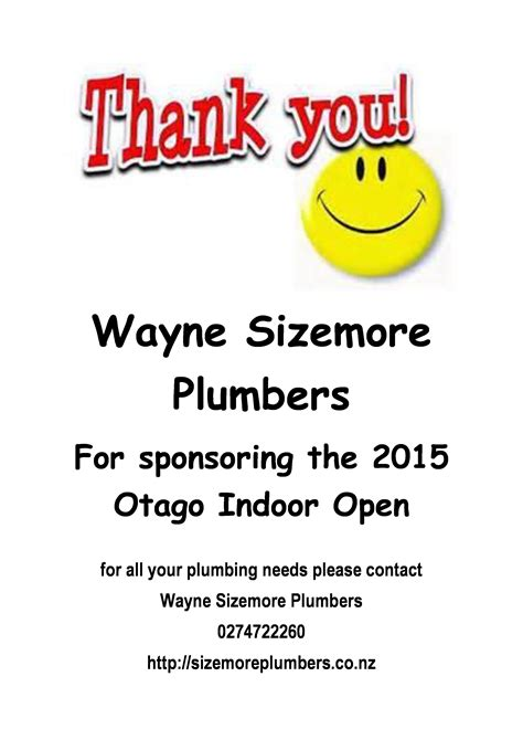 Sizemore Plumbing by Thank You 187 Tennis Otago