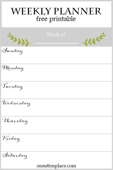 printable weekly planner 2016 free weekly planner free printable on sutton place
