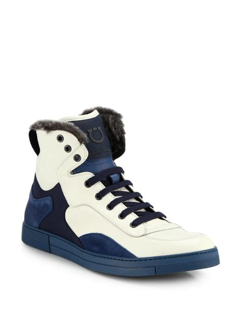 high top mens sneakers ferragamo suede leather shearling high top sneakers in