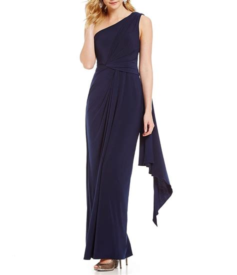 adrianna papell draped shoulder gown adrianna papell one shoulder draped jersey gown dillards