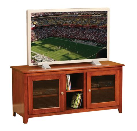 Tv Stand Glass Doors Economy Wide Two Glass Door Tv Stand In Solid Hardwood Ohio Hardwood Furniture