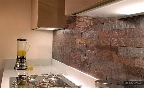 copper color quartzite subway slate backsplash tile
