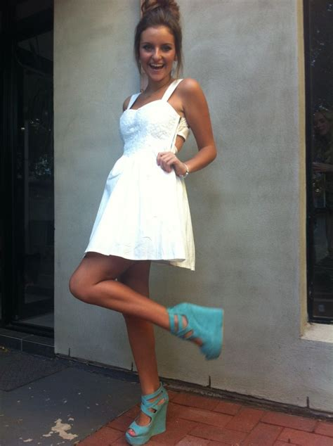White Wedges Dress white dress with blue wedges the summer