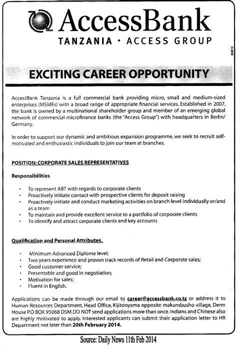 corporate sales representative tayoa employment portal