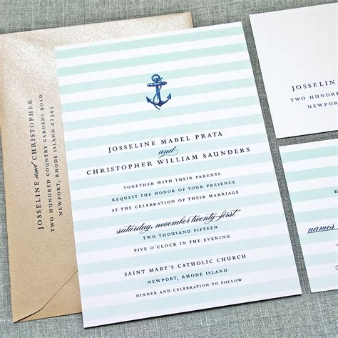 josseline nautical wedding invitation sle by