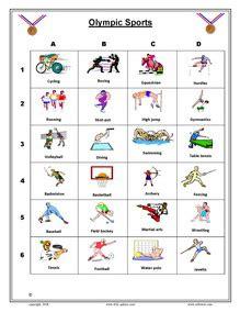 olympics games esl vocabulary worksheets printables