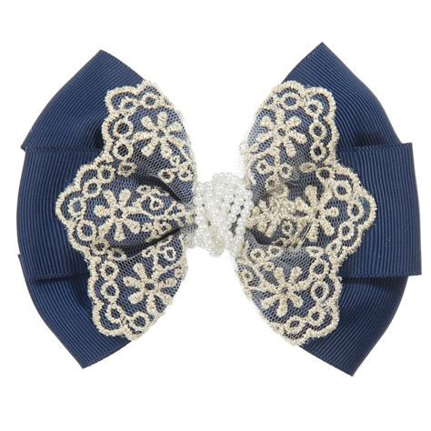 lace hair tie navy blue gold lace bow hair tie childrensalon