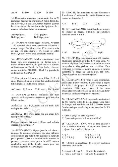 Exercícios: sistema de numeração decimal e operações