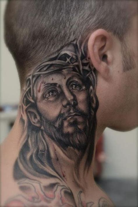 jesus tattoo neck all about fashion neck tattoo for guys