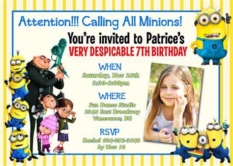 minions birthday invitation card template despicable me 2 minions turbo snail racing custom birthda