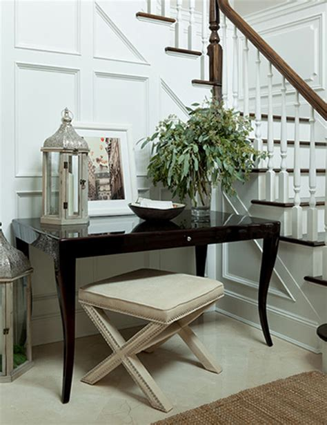 Beautiful Entryway Tables Floor To Ceiling Wainscoting Transitional Entrance