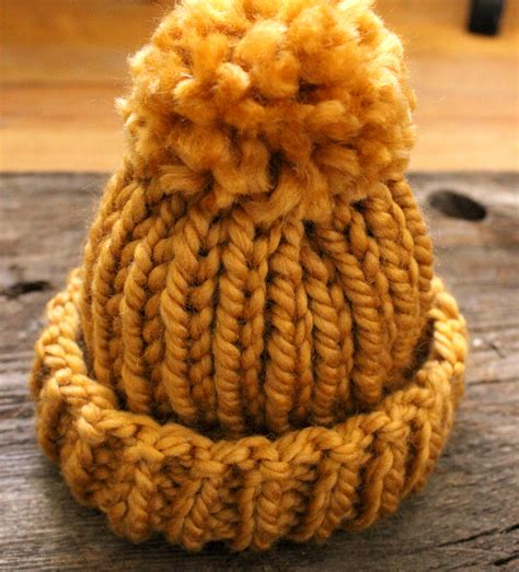 knit hat pattern thick yarn simple baby hat with pom pom simplymaggie com