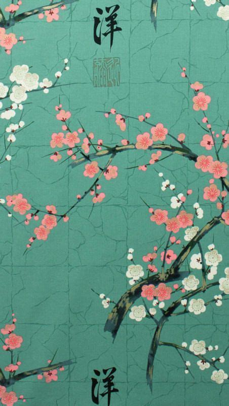 green japanese wallpaper japanese asian fabric cherry blossom branches teal color