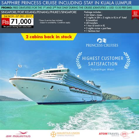 cruises packages sapphire princess cruise with kuala lumpur 27 nov 2017