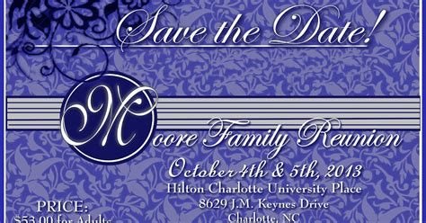 Moore Family Reunion Save The Date Reunion Save The Date Templates