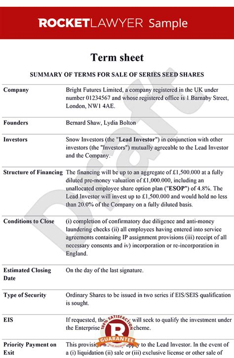 Term Sheet Term Sheet Template Term Sheets Term Sheet Template