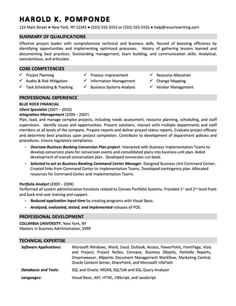 Business Format Resume by Sle Resumes Resumewriting