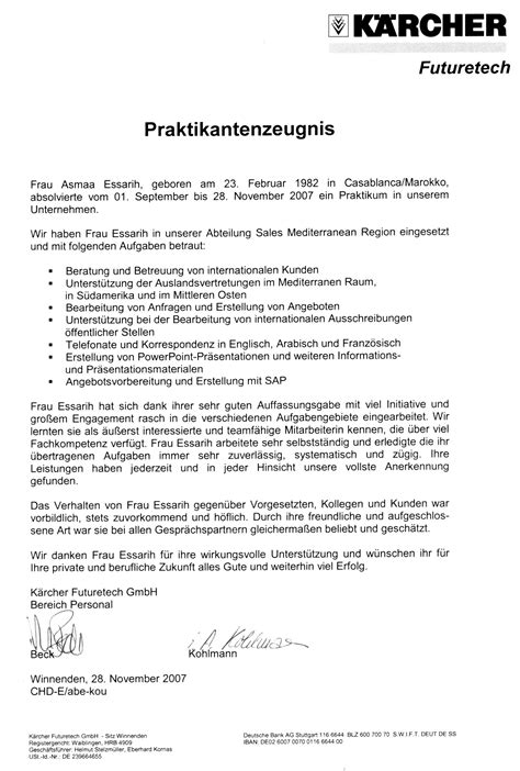 Vorlage Praktikum Beurteilung Asmaa Essarih Junior Managerin Am Bleicher Hag 4 89075 Ulm Asmaa