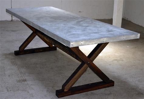 galvanized steel table top custom made newtown patio table reclaimed leaf pine