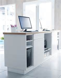 Small Reception Desk Ikea White Kitchen Cabinets With Doors Drawers And Worktop Used As A Front Desk Definitely Doing
