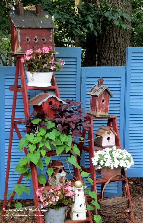 Wooden Ladder Garden Decor Pingry Hill Homes 187 Funky New For Shutters
